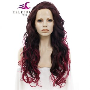 Black Reddish Ombre Red Synthetic Lace Front Wig
