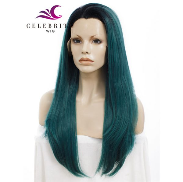 Dark Green Blue Ombre Synthetic Lace Front Wig