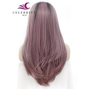 Dark Pink Ombre Synthetic Lace Front Wig