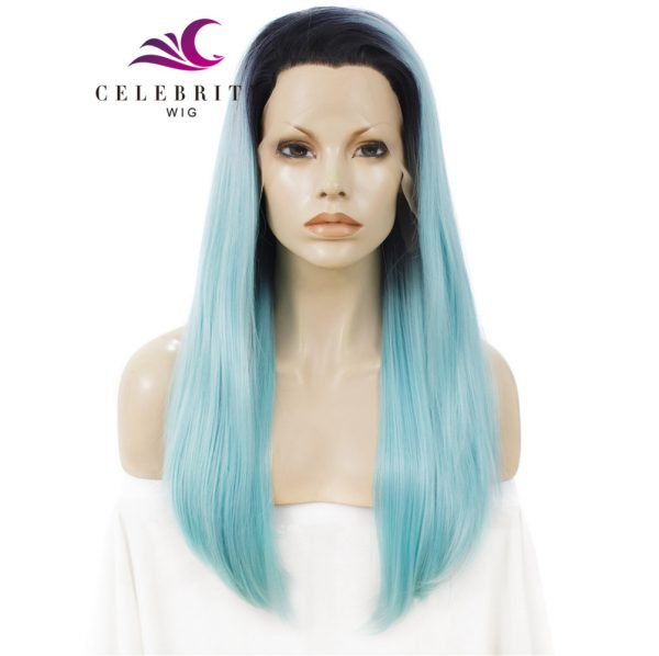 Light Blue Ombre Synthetic Lace Front Wig