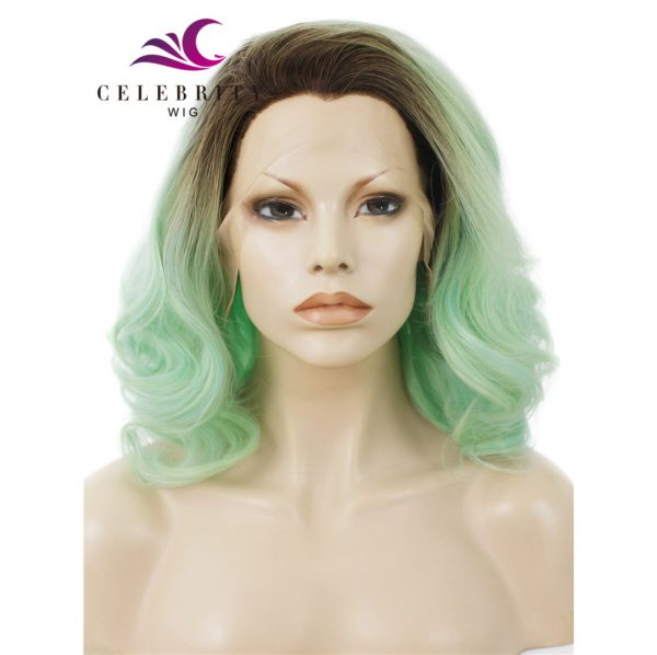 Light Green Ombre Synthetic Lace Front Wigs