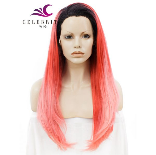 Light Peach Pastel Pink Ombre Synthetic Lace Front Wig