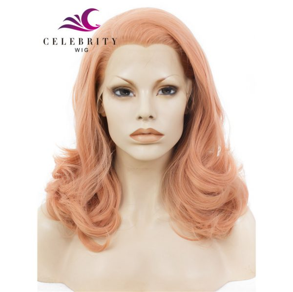 Peach Pink Rose Golden Synthetic Lace Front Wig