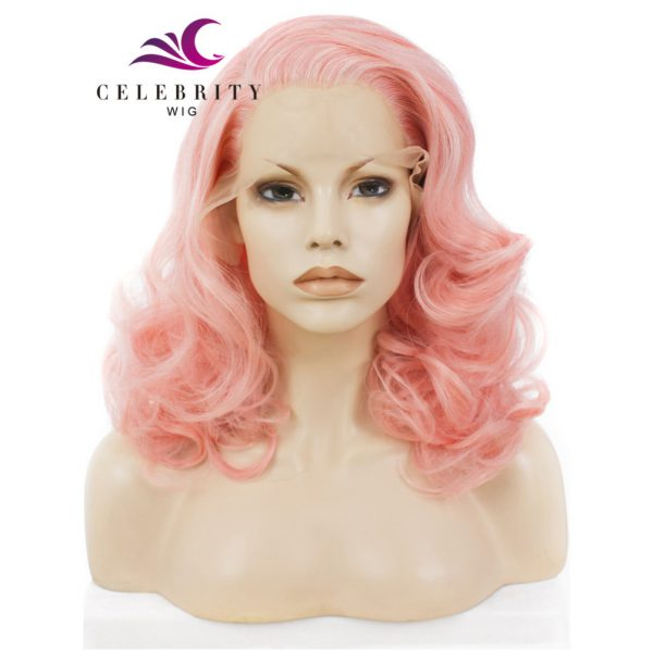 Sweet Pink Synthetic Lace Front Wigs