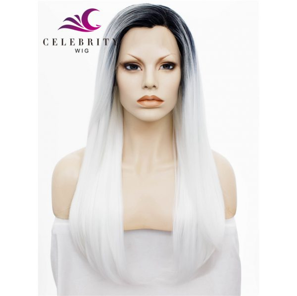 White Ombre Synthetic Lace Front Wig