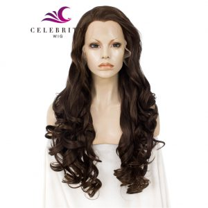 Brown Long Synthetic Lace Front Wig