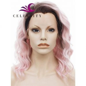 Pink Ombre Synthetic Lace Front Wig