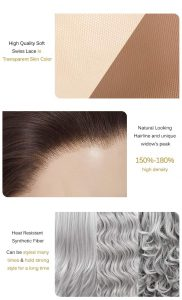 High Quality Soft Swiss Lace in Transparent Skin Color Natural Looking Hairline and unique widow's peak 1 5O%-18O% high density Heat Resistant Synthetic Fiber Can be styled many times & hold strong style for a long time
